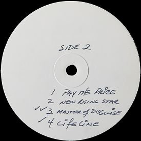 [Just Testing, white label test press. 1, side 2]