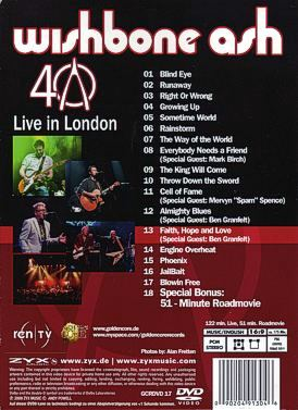 [40th Anniversary - Live in London DVD cover art, back]