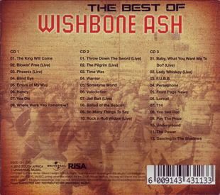 [The Best of Wishbone Ash - South African 3CD Compilation cover art, slipcase back]